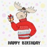 Doodle łosia amerykańskiego puloweru śliczny prezent Fotografia Royalty Free