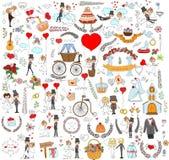 Doodle ślub ustawiający dla zaproszenie kart Fotografia Stock