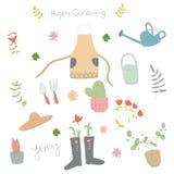Doodle για την κηπουρική με το χαριτωμένο στοιχείο στοκ φωτογραφία με δικαίωμα ελεύθερης χρήσης