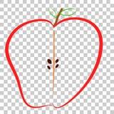 Doodle, η μισή από τη ζωηρόχρωμη Apple, στο διαφανές υπόβαθρο επίδρασης Στοκ φωτογραφία με δικαίωμα ελεύθερης χρήσης