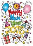 Doodle καλής χρονιάς 2018 Στοκ φωτογραφίες με δικαίωμα ελεύθερης χρήσης