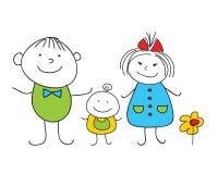 doodle οικογένεια ευτυχής Στοκ φωτογραφία με δικαίωμα ελεύθερης χρήσης