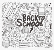 Doodle πίσω στο σχολικό στοιχείο Στοκ Εικόνες