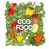 Doodle που τίθεται με τα ζωηρόχρωμα λαχανικά και τα φρούτα Στοκ Φωτογραφίες