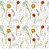 doodle πρότυπο λουλουδιών άνευ ραφής Στοκ Εικόνα