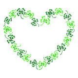 Doodle τέχνη γραμμών καρδιών τριφυλλιών τριφυλλιού που απομονώνεται πράσινη Στοκ Εικόνες