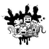 Τα διανυσματικά τέρατα doodle δίνουν συμένος διανυσματική απεικόνιση