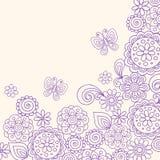 doodle бабочки цветет вектор хны Стоковые Фотографии RF