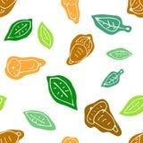 Doodle безшовная картина осени с жолудем и листьями Стоковые Изображения
