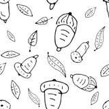 Doodle безшовная картина осени с жолудем и листьями Стоковое Фото
