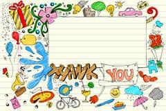 doodle благодарит вас иллюстрация вектора