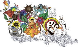 Doodle Будды Стоковые Изображения