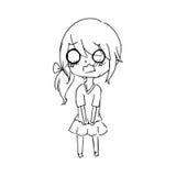 Doodle вектора иллюстрации нарисованный рукой iso маленькой девочки плача бесплатная иллюстрация