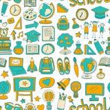 Doodle вектора установленный с деталями школы Стоковое Изображение