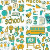 Doodle вектора установленный с деталями школы Стоковая Фотография