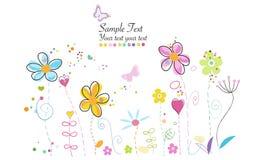Doodle времени весны красочный милый современный цветет иллюстрация Стоковые Фотографии RF