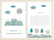 Doodle горы, деревья, солнце и холмы Вертикальные установленные знамена Стильный, иллюстрации нарисованные рукой Стоковые Изображения RF