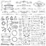 Doodle граница, стрелки, комплект элемента оформления романтично иллюстрация вектора