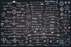 Doodle граница, стрелки, элемент оформления, сердца Комплект влюбленности Стоковая Фотография RF