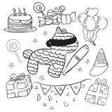 Doodle дня рождения стоковые изображения