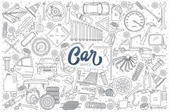 Doodle деталей обслуживания автомобиля установленный с литерностью Стоковые Изображения RF