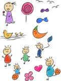 Doodle 2 детей Стоковые Изображения RF