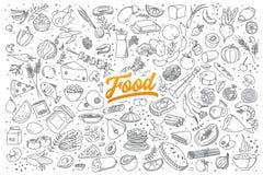 Doodle еды установленный с литерностью Стоковая Фотография RF