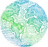 Doodle земли планеты сделанный эскиз к зеленым цветом Стоковые Изображения