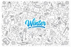 Doodle зимы установленный с литерностью Стоковое Изображение