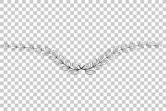 Doodle значок вектора лаврового венка, для вашей границы названия, на прозрачной предпосылке влияния Стоковые Изображения RF
