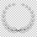 Doodle значок вектора лаврового венка круга, для вашей границы названия, на прозрачной предпосылке влияния Стоковое Изображение