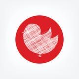 Doodle значок птицы в красном круге на белой предпосылке Стоковое Изображение RF