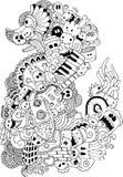 Doodle изверга и шаржа музыки нарисованный вручную Стоковое Изображение RF
