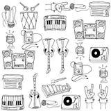 Doodle инструментов музыки темы Стоковое Изображение