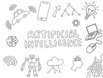 Doodle искусственного интеллекта Ai с вектором вещества технологии иллюстрация вектора