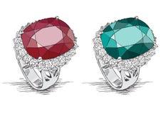 Doodle иллюстрации ювелирных изделий кольца с бриллиантом - вектор Стоковое Изображение RF