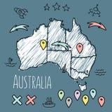 Doodle карта Австралии на голубой доске с штырями иллюстрация штока