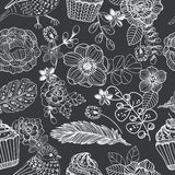 Doodle картина цветка безшовная с тортом и птицей для красивого Стоковое фото RF