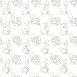 Doodle картины крышки чайника иллюстрация вектора запаса элемента дизайна безшовного monochrome иллюстрация штока