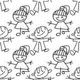 Doodle картины малышей безшовный Стоковое Изображение