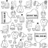 Doodle комплекта музыки Стоковое Изображение