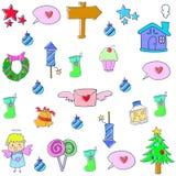 Doodle комплекта рождества объекта Стоковые Изображения