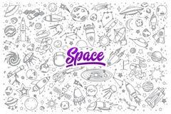 Doodle космоса установленный с литерностью Стоковое Фото