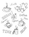 Doodle кофе Стоковое Фото