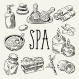 Doodle красоты здоровья курорта нарисованный рукой Комплект элементов здоровья ароматерапии Обработка кожи Стоковое Изображение RF