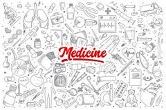 Doodle медицины установленный с литерностью Стоковое Фото
