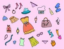 Doodle моды женщин с красочным стилем цвета и розовым вектором предпосылки иллюстрация вектора