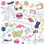 Doodle моды 80s нарисованный рукой с скейтбордом, губами и солнечными очками Комплект элементов стиля подростка Freehand иллюстрация штока