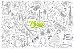 Doodle музыки установленный с литерностью Стоковые Изображения RF