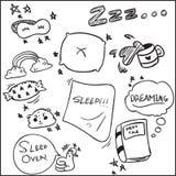 Doodle мультфильма темы спать стоковая фотография